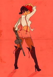 Tommy gun chick