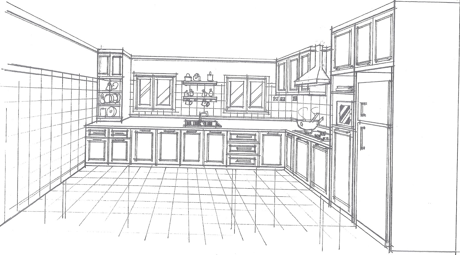 Kitchen Drawing Perspective drawing of kitchen