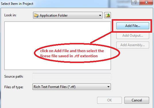 Add File option in setup project