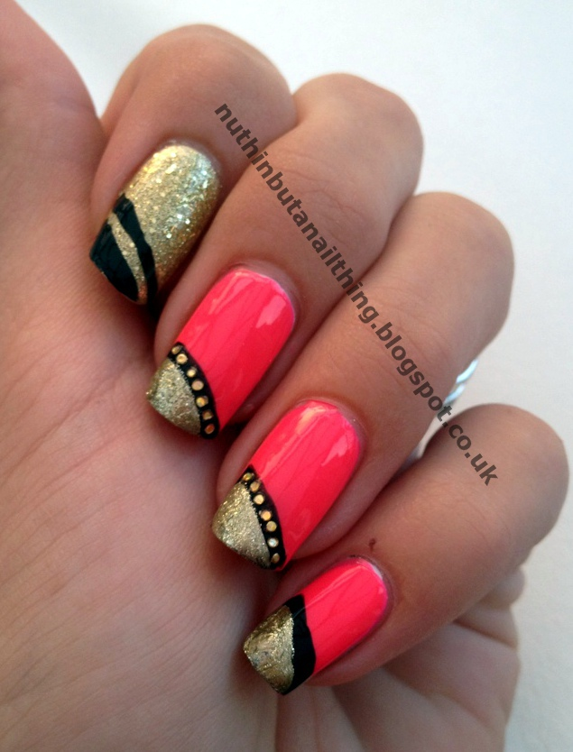 Nuthin but a nail thing bright pink gold tips and some sparkle pink gold tips nail art glitter prinsesfo Choice Image
