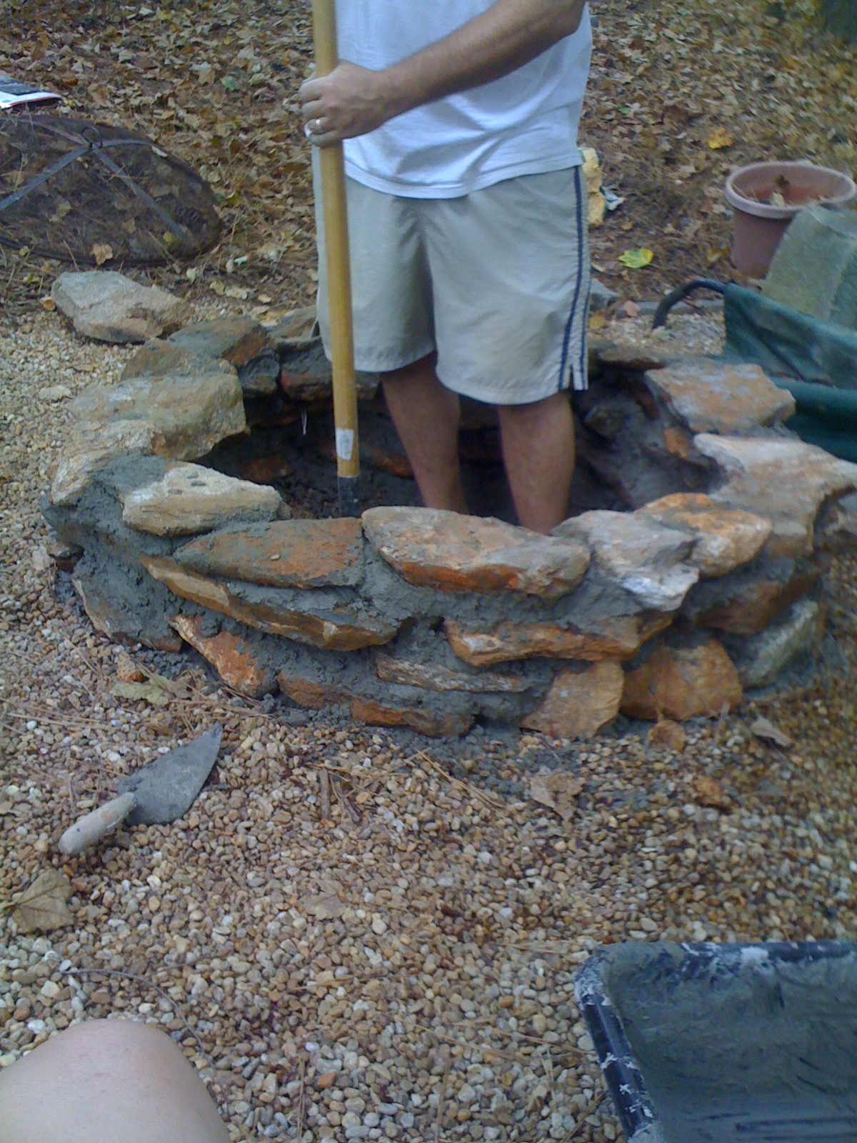 Casalupoli build an inground backyard fire pit for Outdoor ground drains