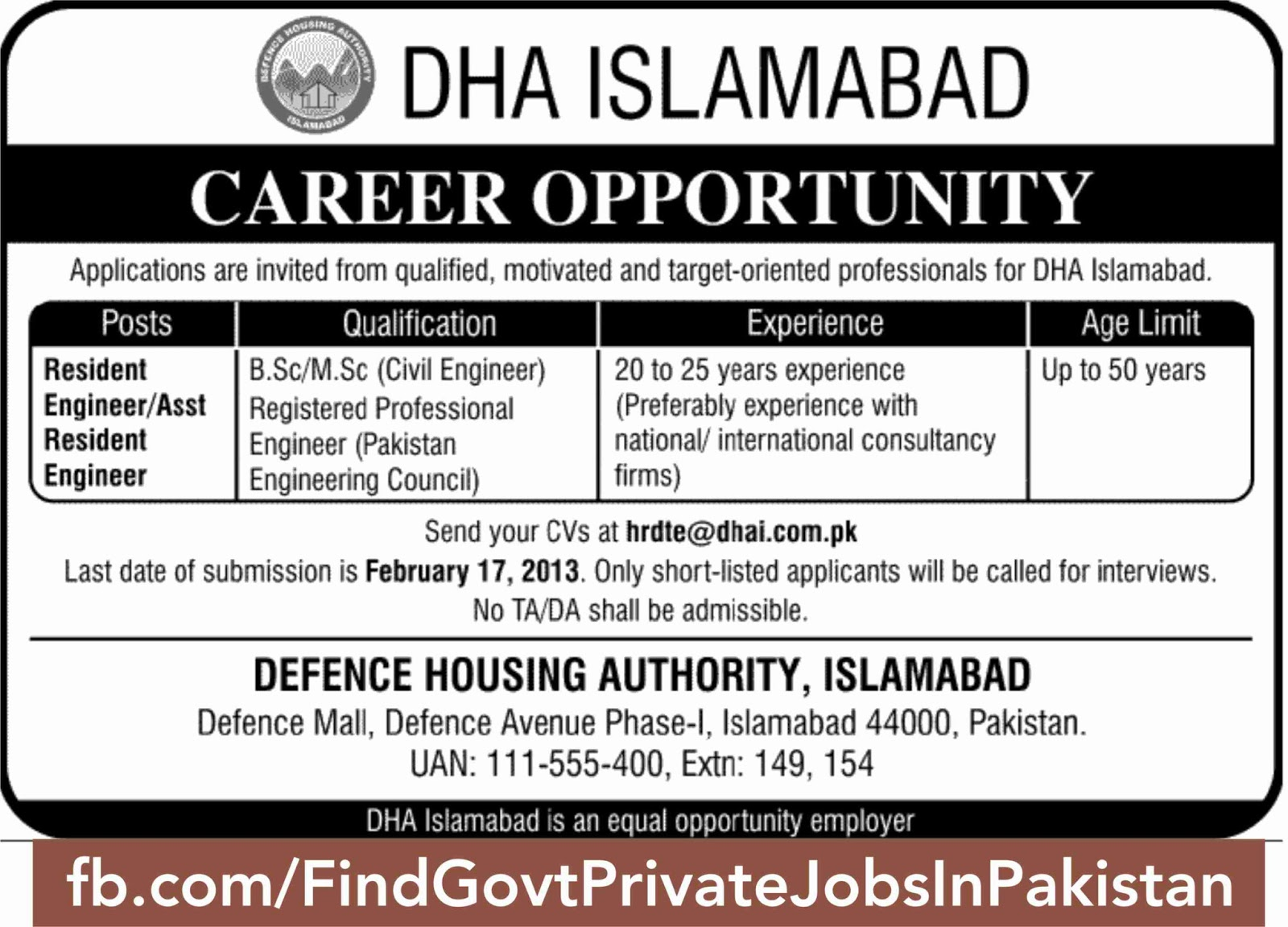 dha islamabad posted job ads in jang sunday