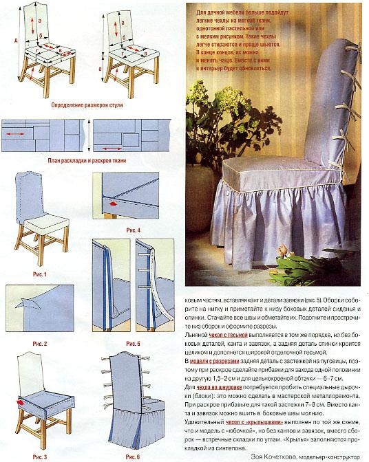Чехлы для стульев на кухню выкройки своими руками