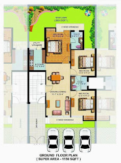 omaxe silver birch 3bhk 1150fq.ft Ground