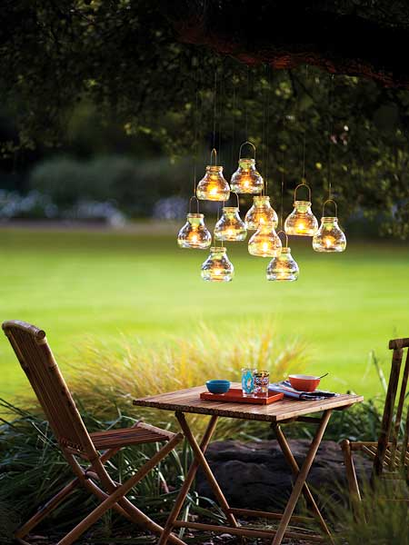 How to recycle awesome outdoor garden lightings for Backyard party decoration crossword