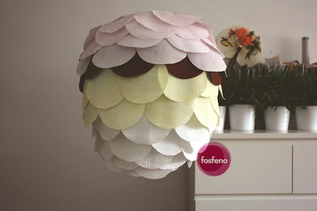 fosfeno candeeiro decoraçao bolas escamas papel