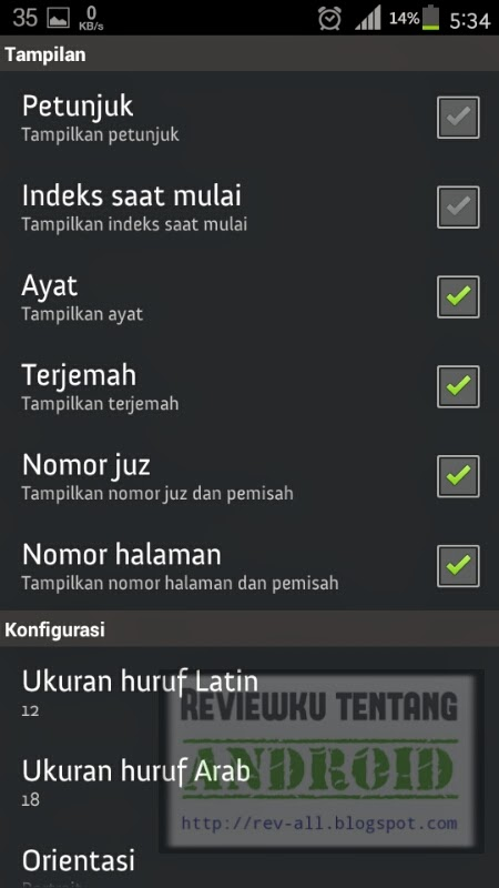 Menu Pengaturan BI Quran (rev-all.blogsot.com) tutorial membesarkan font di aplikasi Quran Bahasa Indonesia Android