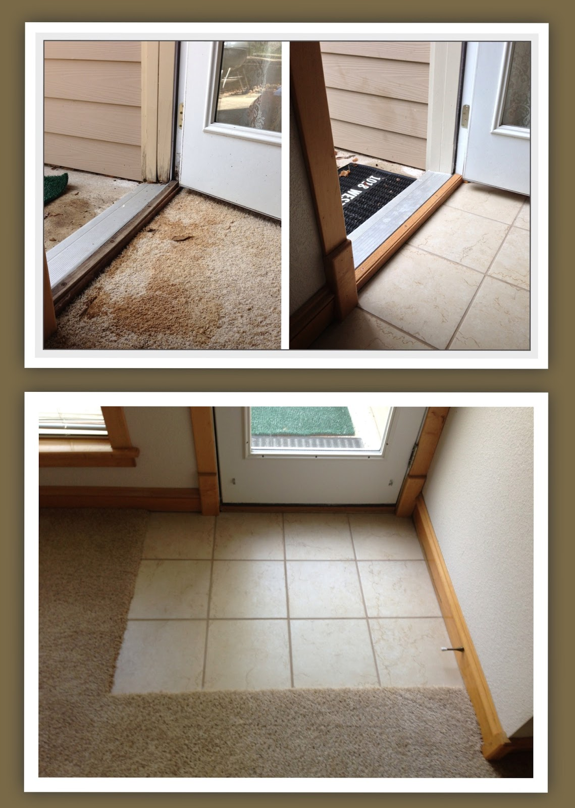 carpet with a tile entry and repair door threshold casing and trim
