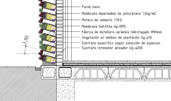 Plano y escala muros verdes o jardines verticales en for Muro verde sistema constructivo