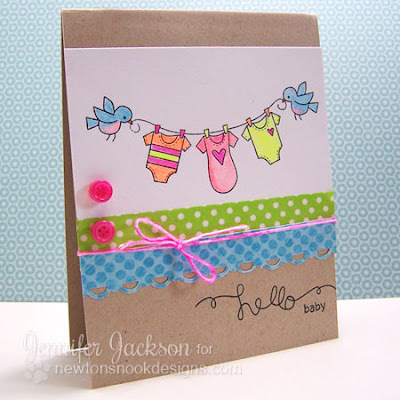 Hello baby onesie card using Winged Wishes stamp set