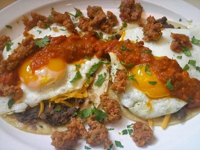 The Briny Lemon: Huevos Rancheros with Chorizo and Refried Black Beans