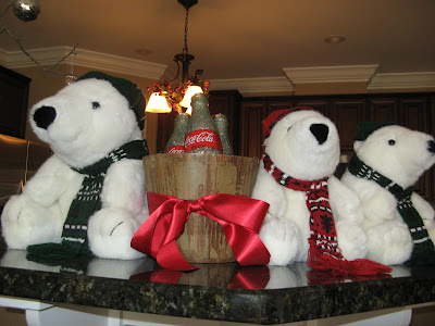 Glitter Coke Bottle Christmas Decoration with Stuffed Polar Bears
