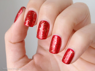 Orly Devil May Care over Essie Jag-u-are red glitter