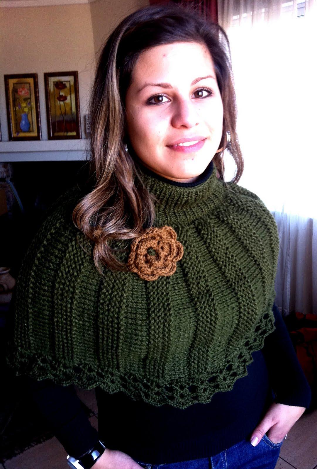 ... DE TEJER: Mini Poncho Tejido Dos Agujas - Bufanda Zig Zag a crochet