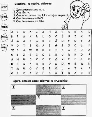 Atividades com RR, ortografia,alfabetização, anos iniciais,atividades com RR para imprimir,cruzadinha do rr
