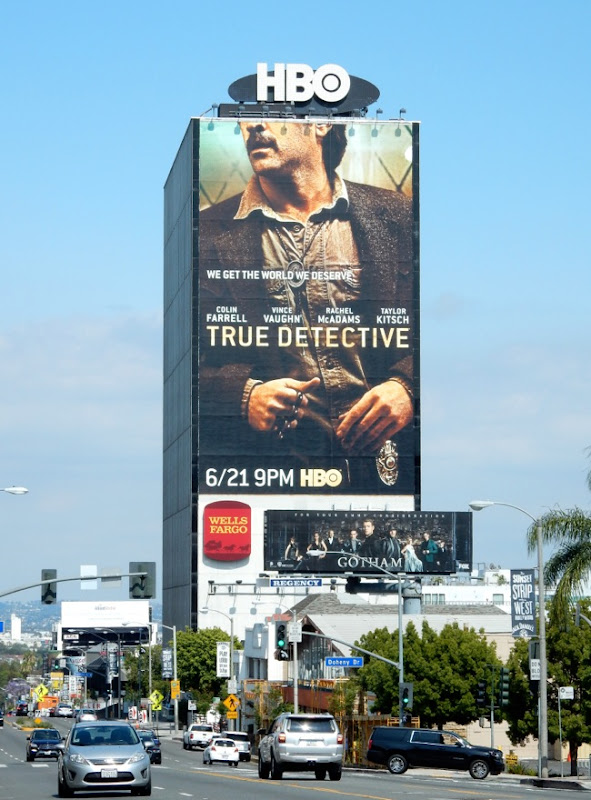 Giant True Detective season 2 billboard Sunset Strip