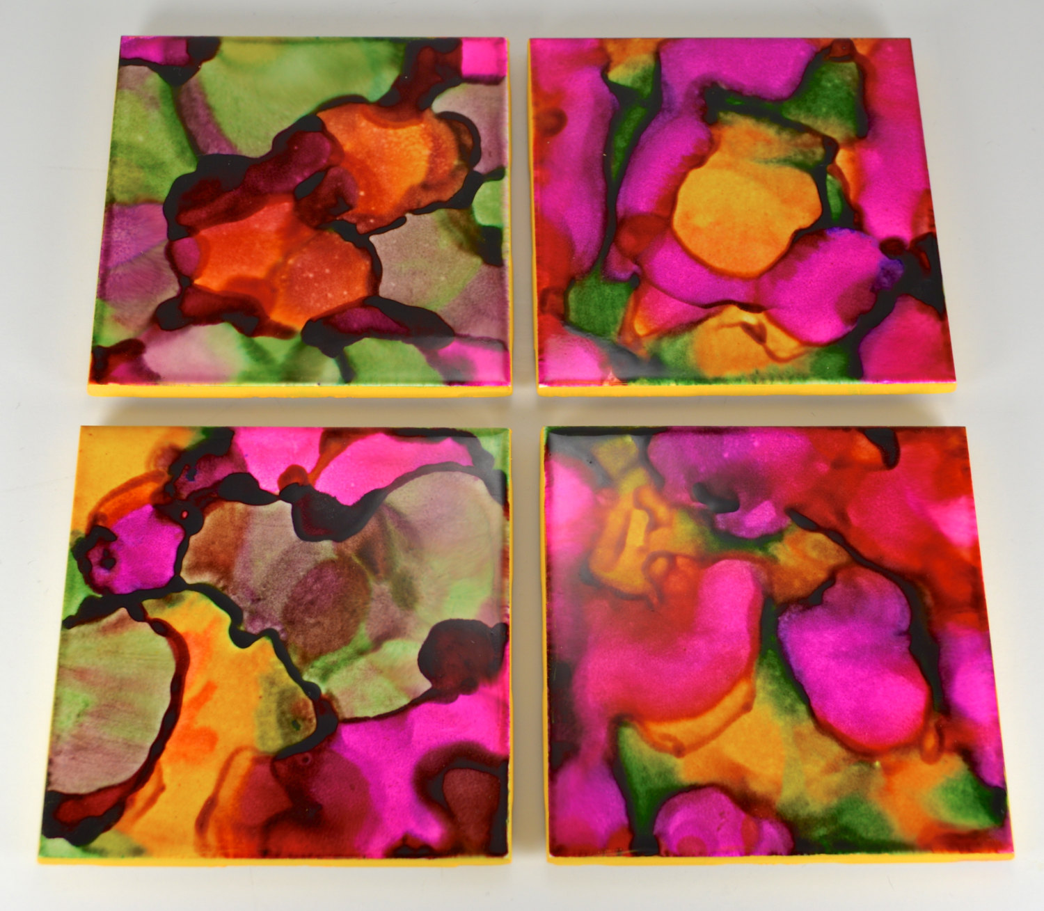 Hand Painted Wall Tiles Simple Ways To Decorate Old: DIY: Alcohol Ink-Dyed Coasters