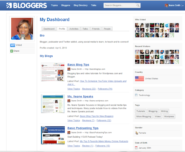 Bloggers.com Dashboard