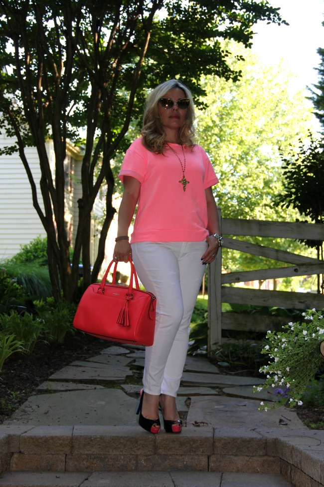White Pants - Zara, Sweater - Zara, Shoes - Guess, Nastasya Sunglasses - Tom Ford, Legacy Leather Haley Satchel Purse from Coach and Accessories - TJ Maxx