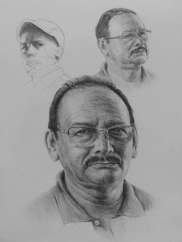 Retrato de mi padre... y autoretrato al fondo.