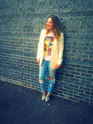 fashion bloggers in NYC, New York Fashion week streetstyle, street style Brooklyn fashion, Olivia Inkster, Miu Miu art tshirt tee, Tibi white blazer, Tibi loafer heels