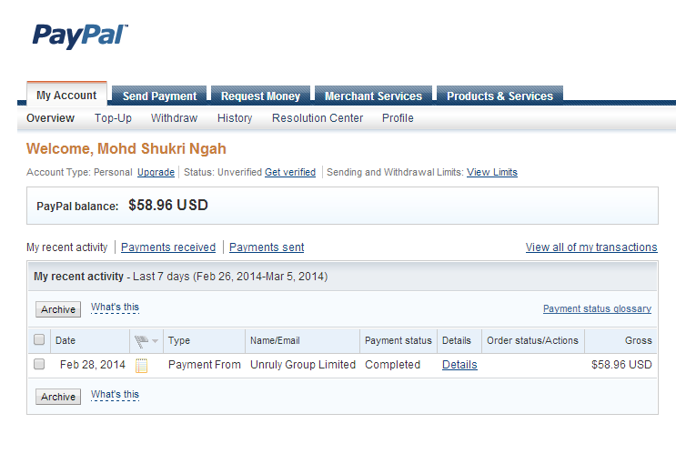 Pertama kali ada duit dalam PayPal