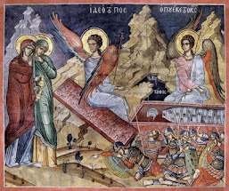 Οι Μυροφόρες φθάνουν στον Κενό Τάφο. H εικόνα της Αναστάσεως και οι Μυροφόρες