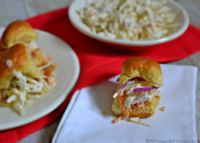 Buffalo Chicken Sliders and Slaw - Slow Cooker #Recipes