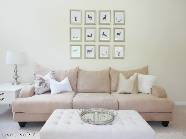 Cheap Wall Art Ideas: Antler Silhouette Gallery Wall by Live Love DIY