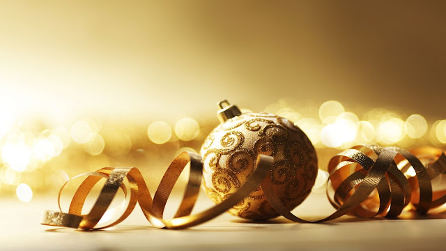 Gold Christmas ball.