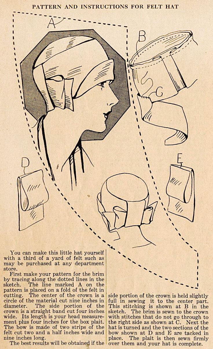 Cloche Hat Pattern Felt Hats