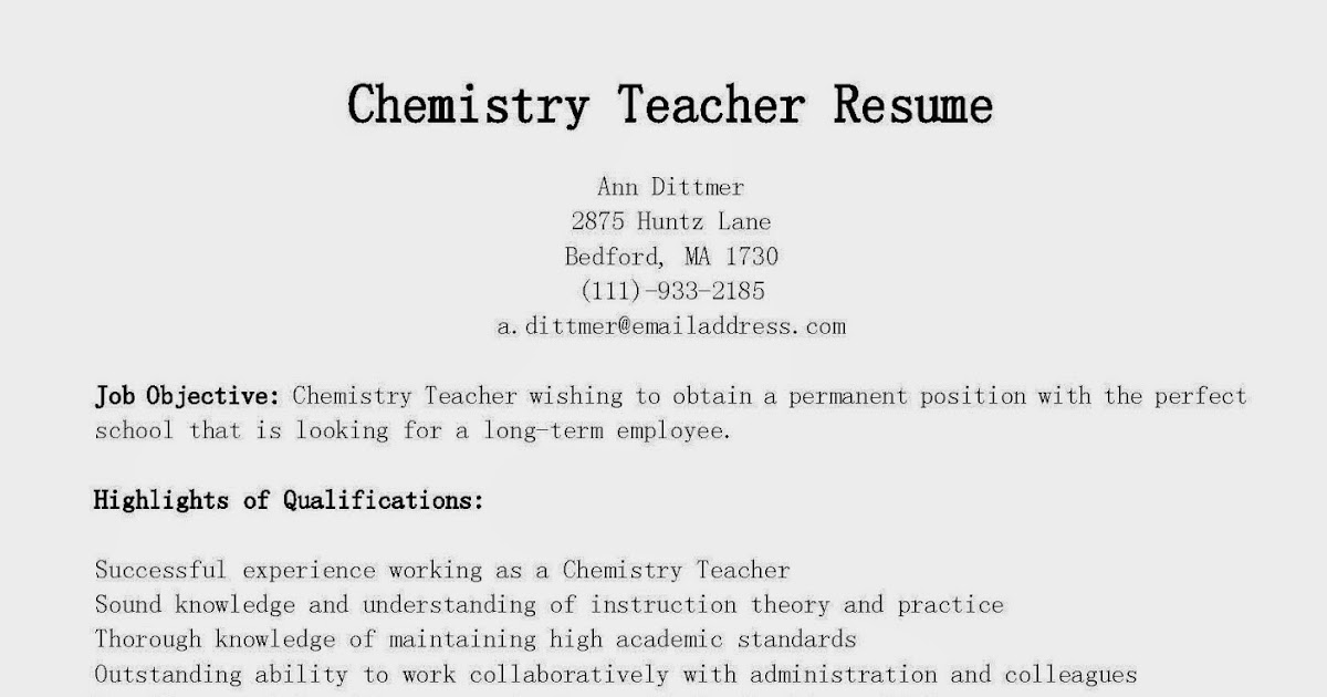 resume samples  chemistry teacher resume sample