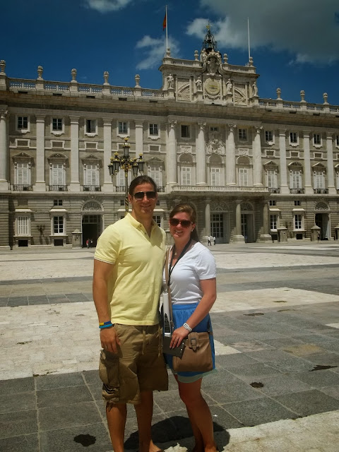 Jonathan and Megan at the Royal Palace of Madrid on Semi-Charmed Kind of Life