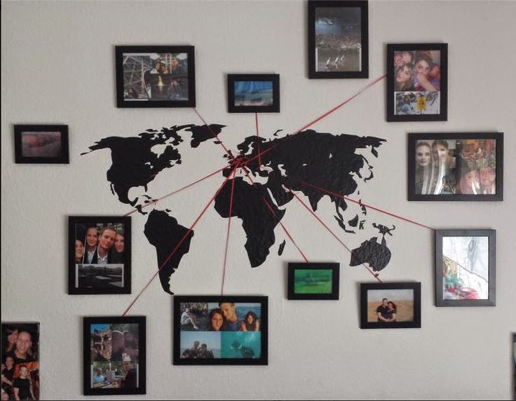 The world on your walls design in living spaces easy vacation memory photo map diy lets you use a simple world map decal your favorite pics and a few photo frames to connect good memories gumiabroncs Gallery