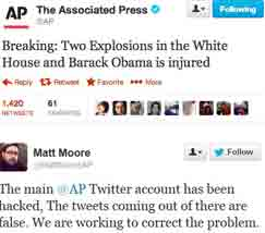 Hack akun Twitter dari The Associated Press mencatat laporan serangan  palsu di Gedung Putih