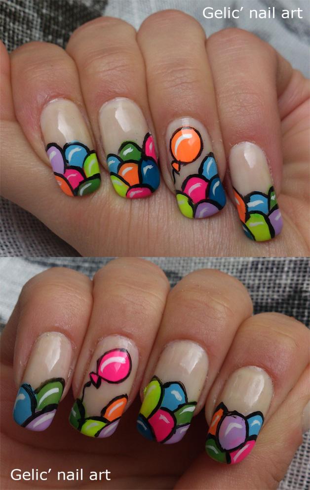 Gelic\' nail art: Balloon funky french/ balloon nail art