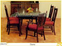 Kursi dan Meja Makan Kayu Jati Ukiran Dante