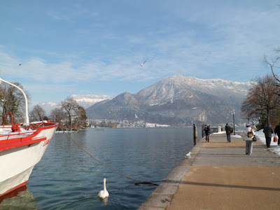 Lake (Lac) Annecy and snowy mountains - French Alps