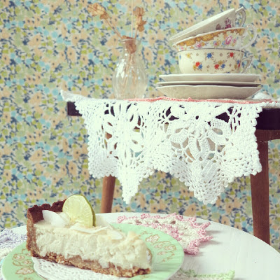 ByHaafner, crochet, doilies, vegan coconut lime pie, pastel, vintage, thrifted