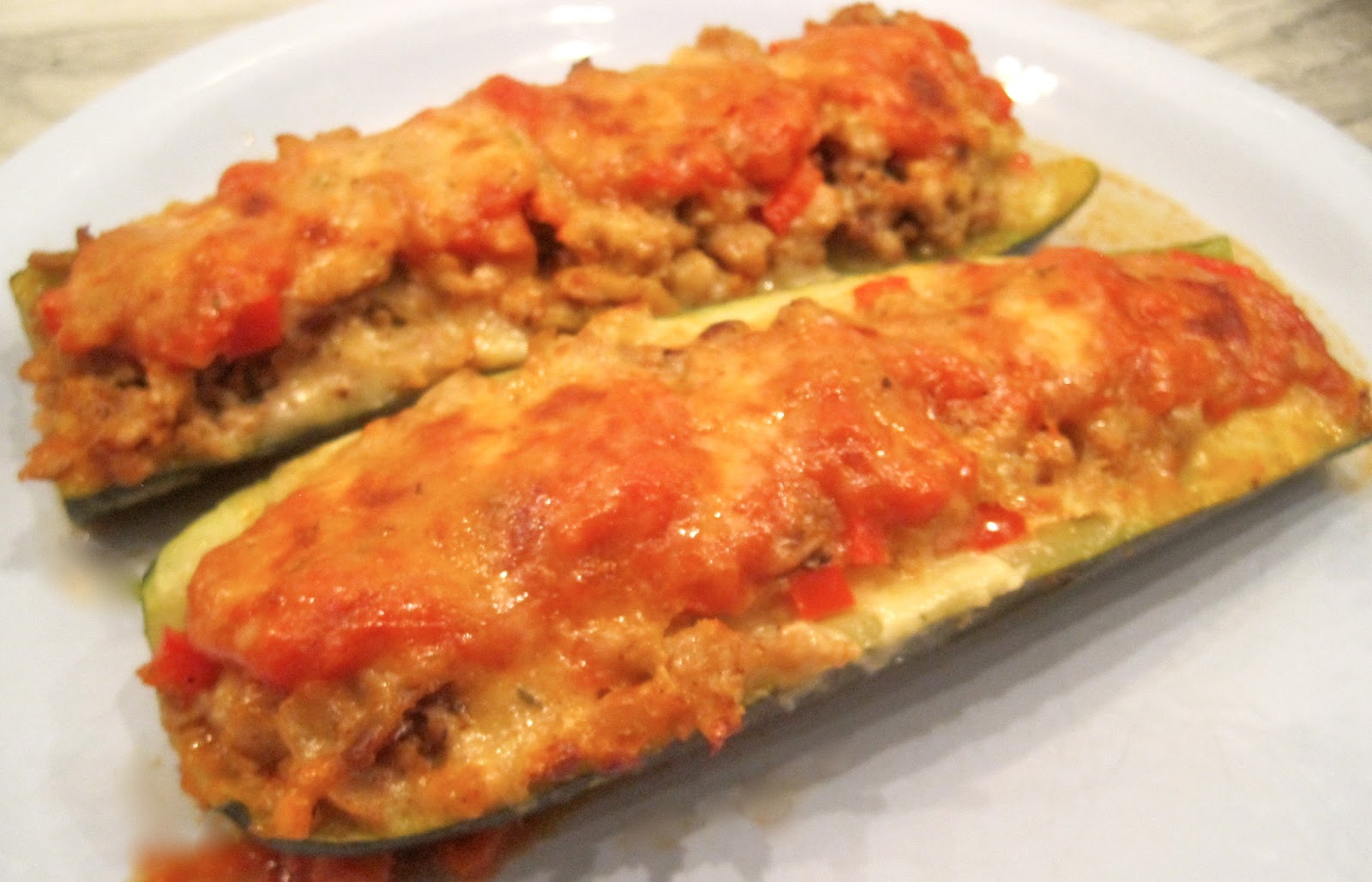 The Wooden Spoon Diaries: Sausage Sutffed Zucchini Boats