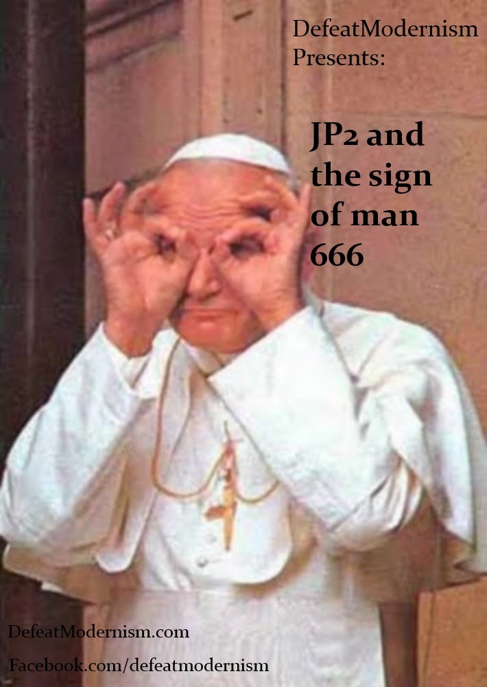 Luciferian Symbolism (JP2 giving the sign of man)