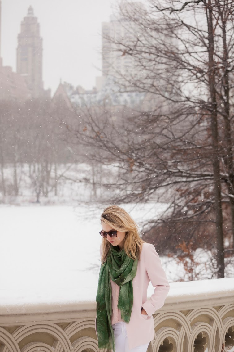 Green Bindya scarf pink blazer Central Park snow NYC