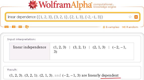 Векторы линейно зависимы - Wolfram Alpha