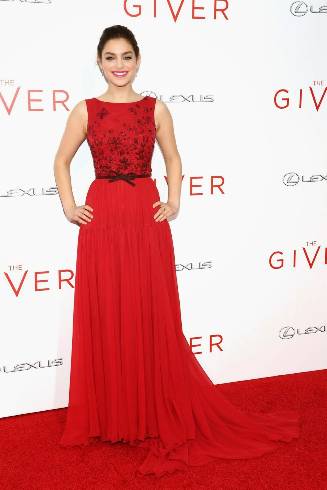 Odeya Rush is gorgeous in a red Georges Hobeika Couture dress at 'The Giver' NYC premiere