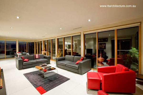 Diseño interior de la sala y el comedor