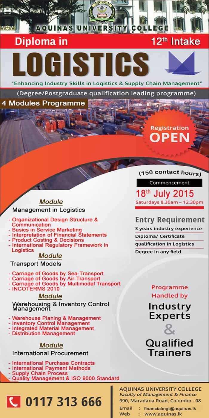 Diploma in Logistics - 12th Intake.