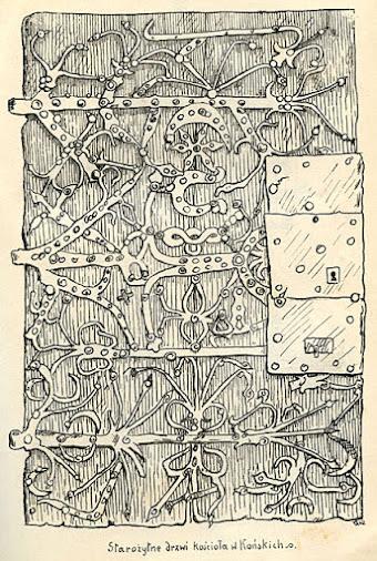 Końskie, kościół p.w. św. Mikołaja - drzwi umieszczone niegdyś pod tympanonem. Ciekawym zabytkiem także z XVI zapewne wieku, są drzwi dębowe południowego wejścia do kościoła z okuciem grubej, ale nie pozbawionej zacięcia roboty, w którego motywa ornamentacyjne wpleciona jest podkowa i jakby przewrócona Leliwa. Rysunek zamieszczony w Dekanacie koneckim, 1913 r.