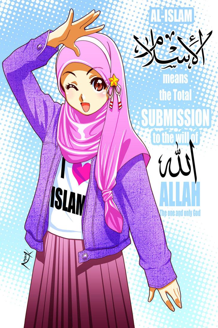 Paling sweet kartun pasangan suami isteri / keluarga Muslimah /