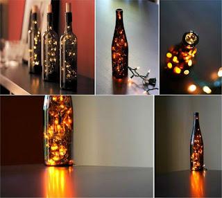 Garrafas de Vinhos cheia de pisc pisc de LED's