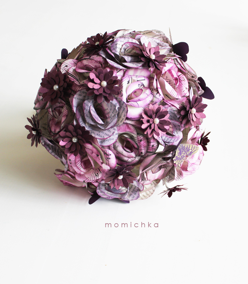 Momichka Sams Wedding Bouquet Paper Flowers PURPLE BOOK ROSES